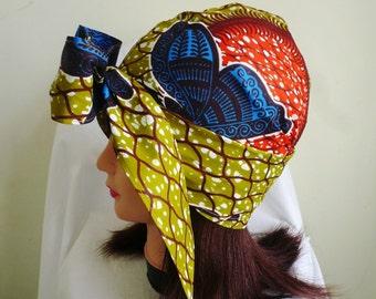 Green and Blue Butterfly Ankara Jiffy Head Wrap, African Wax Headtie, Stylish Hair Accessory