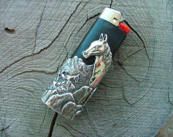 Solid Sterling Silver Horse Bic Lighter Case