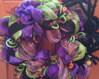 Colorful Halloween Spider Wreath