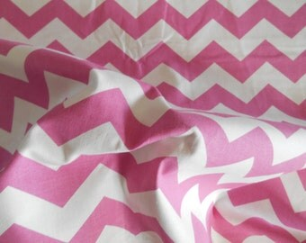 Pink Chevron cotton fabric by the yard