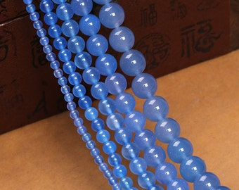 Blue Agate Beads, Round Agate Gemstones Beads, 2 4 6 8 10 12mm 14mm Blue Agate Beads Strand, Agate Blue Beads for Jewelry Making (B4)