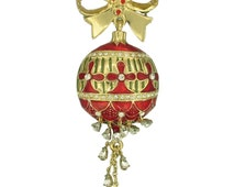 Festive Dangling Christmas ornament moving crystal Handcasted with Swarovski Crystal Handpainted Holiday NEW  Gift Brooch pin P5335