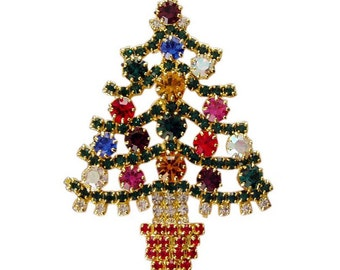 Extravagant Handmade witH multi color Swarovski Crystals Christmas Tree Vintage Inspired Holiday  Gift Brooch  pin RSP2298