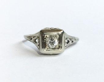 Art Nouveau 18K White Gold Diamond Engagement Ring size 5.25