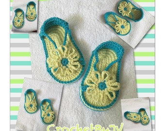 Crochet baby sandals, baby shoes, baby girl sandals