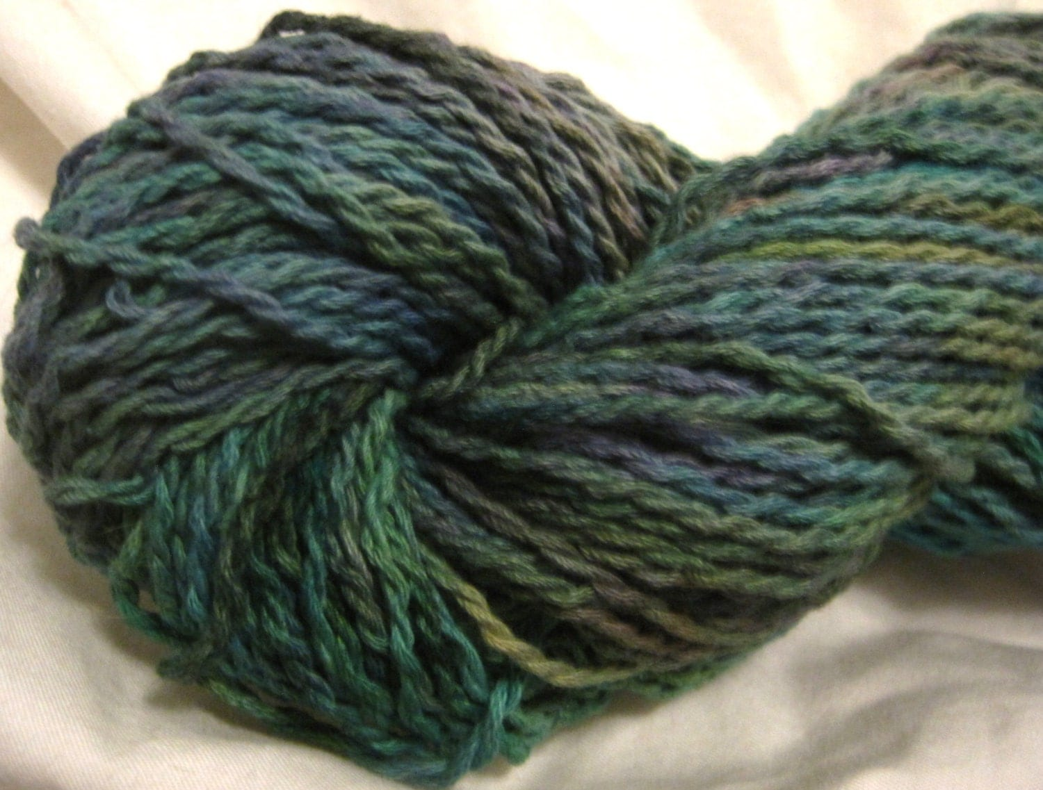 Hand Dyed Worsted Weight Cotton Yarn Vegan Yarn Recycled