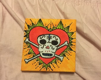 Skull and heart painting