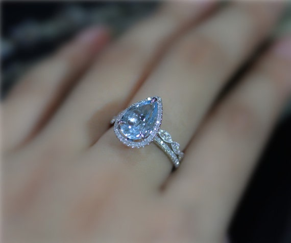 Drop 3ctw Pear Aquamarine And Diamonds Ring Set Vs Aquamarine