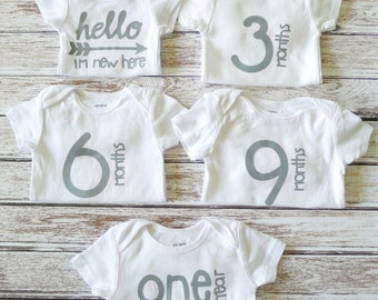 My First Year bodysuits, Baby Shower gift, Photography, Bodysuits, First year, Gender Neutral, New Baby, Gift