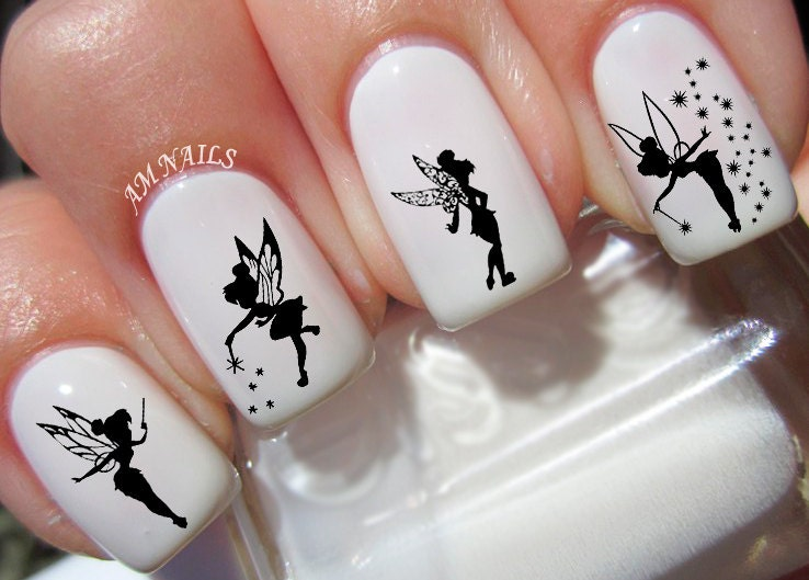 40 tinkerbell fairy nail decals details tinkerbell silhouette nail prinsesfo Gallery