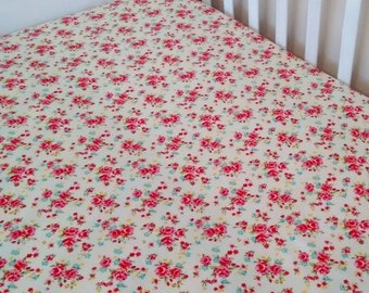 Roses cot/crib fitted sheet floral fitted sheet