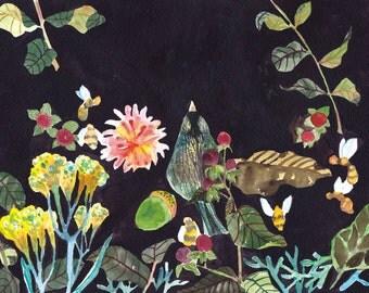 Autumn in garden, watercolor,digital download