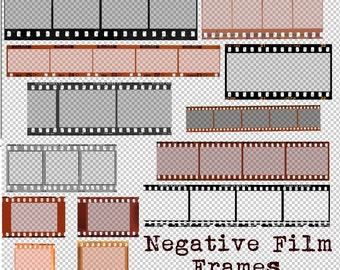 Film Negative PNG Frames, 35mm camera strip, digital download printable scrapbook photo picture, roll old vintage photo borders transparent
