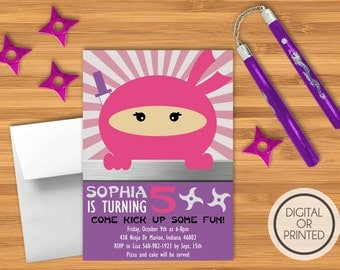 Girl Ninja Birthday Invitations, Ninja Party Invitations, Ninja Invitations Birthday, Ninja Party Invites, Ninja Birthday Invitation