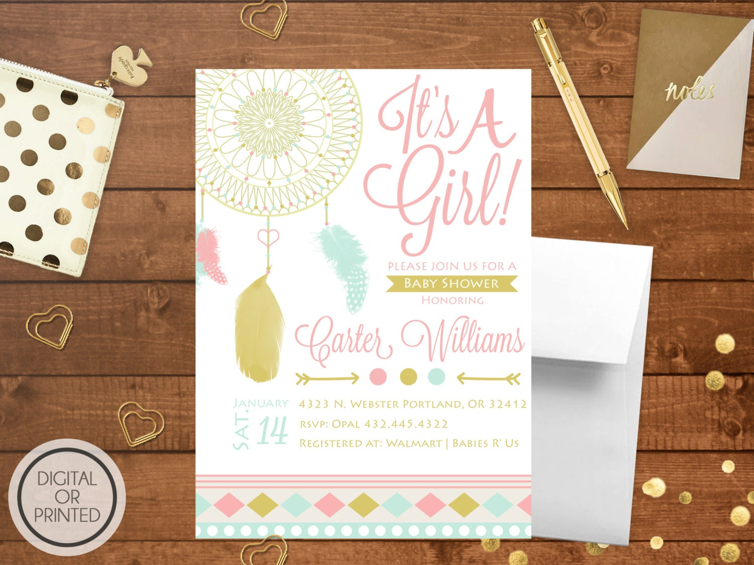 tribal baby shower invitation boho baby by greatowlcreations