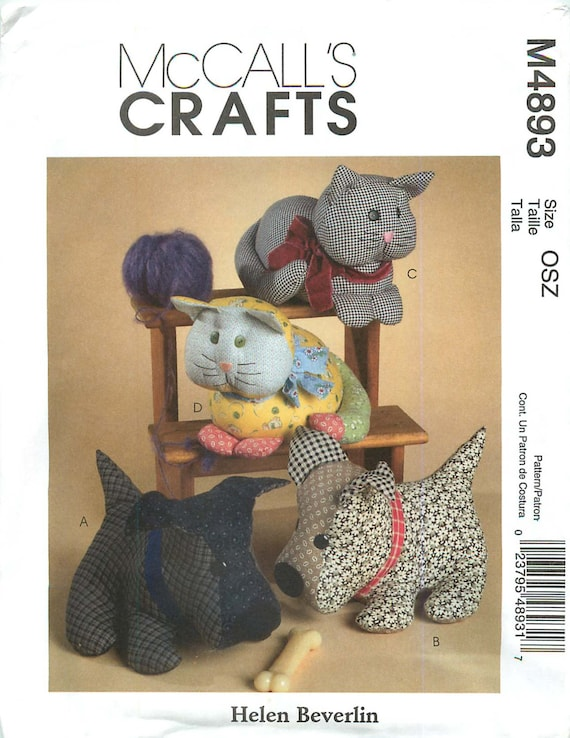 """McCall's Crafts M4893 Sewing Pattern for """"Calico Pets"""" a Design by"""