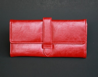 Womens Wallet, Leather Wallet, Red Wallet, Red Purse, Red Leather Wallet, Red Leather Purse