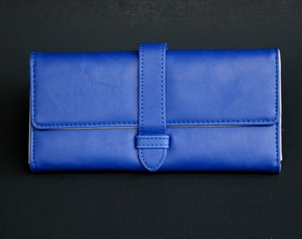 Womens Wallet, Leather Wallet, Blue Wallet, Blue Purse, Blue Leather Wallet, Blue Leather Purse