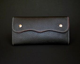 Womens Wallet, Leather Wallet, Black Wallet, Black Purse, Black Leather Purse, Black Leather Wallet.