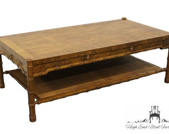 """DREXEL HERITAGE Faux Bamboo Inlaid 54"""" Coffee Table 048-107"""