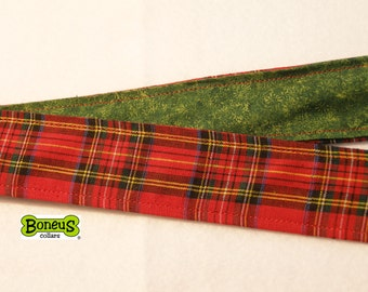 "Holiday Plaid Greyhound Martingale Collar 1.5"" Wide Fabric Lined"