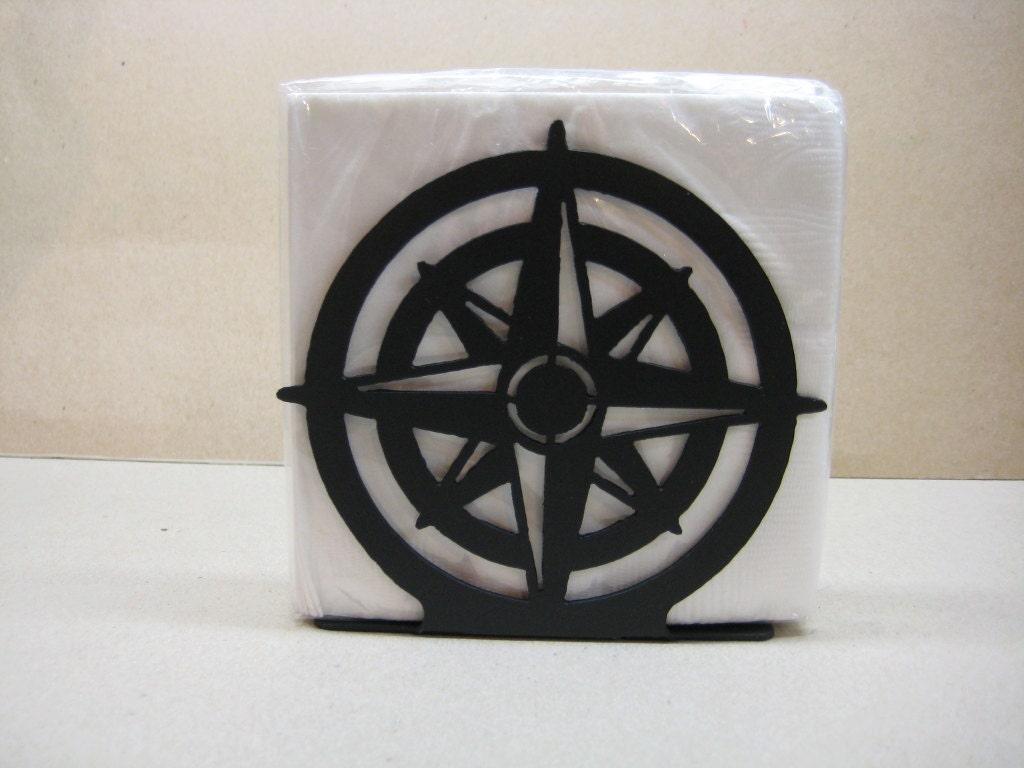 Compass rose napkin holder letter holder nautical decor - Coastal napkin holder ...
