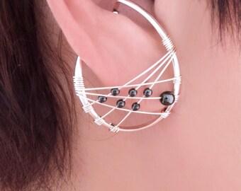 unpierced earrings, non-pierced Sterling Silver hematite dream catcher ear cuff, ear wrap, clip on comfortable Illuzio Unusual Earrings