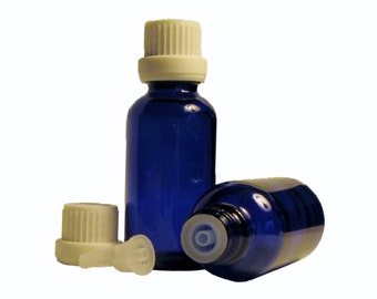 6 pack; 30 ml (1 oz) empty cobalt blue glass bottle with euro dropper for aromatherapy and essential oils