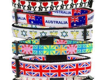 Eiffel Tower Dog Collars. NY Ribbon Dog Collars.Jewish  Dog Collar. UK Flag  Dog Collar.Australia Nylon  Collar.Tiled Union Jack  Collar.