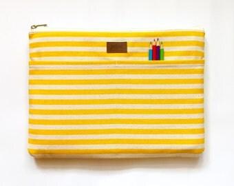 MacBook Pro Case, MacBook Pro Sleeve, MacBook Pro 13 Case, MacBook Pro Cover, MacBook Retina Sleeve, MacBook Pro 13 - White & Yellow Stripe