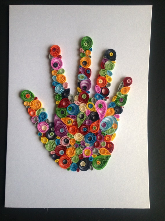 Handprint Card Quilling hand Birthday Present