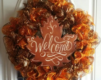 "16"" Fall deco mesh wreath"