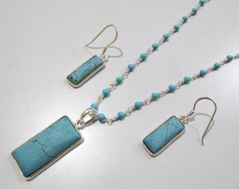 Sterling Silver Pendant Set with Turquoise Rosary chain/ Fancy Shape Stone / Size15x40mm including Bail /Blue Turquoise Stone Jewelry