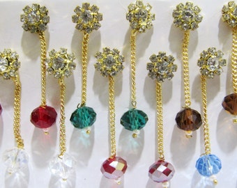 Pack of 6 earrings in different colors/ Crystal Jewelry Gold Plated / Czech Earring with Hanging Beads / Unbelievable Prices
