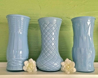 "Blue Home Decor, Blue Vase, 8.5"" Hand Painted Upcycled Glass Decorative Bouquet Vase"