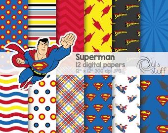 "Superman digital paper pack, instant download, 12"" x 12"""