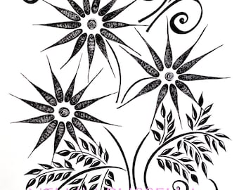 3 Flowers-Giclee print of Ink Art Drawing