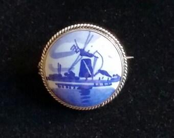 Vintage Delft porcelain and sterling brooch