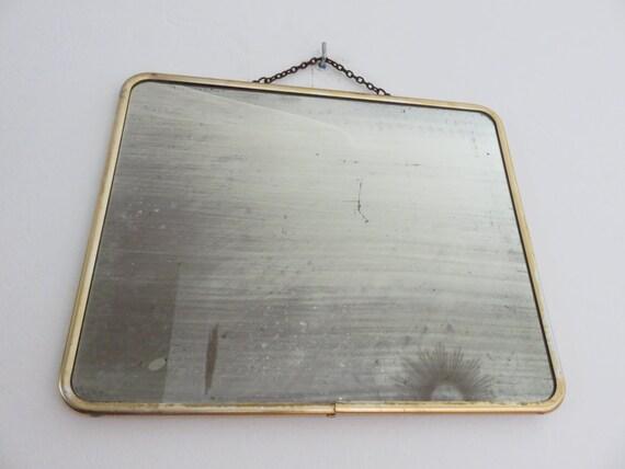 Molto vecchio grande specchio di metallo di oro rotondo 50 art - Specchio anni 50 ...