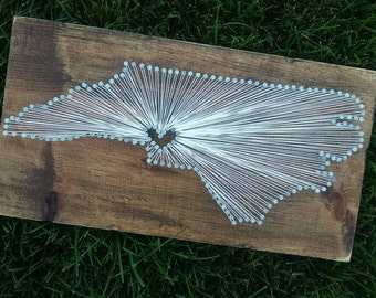 North Carolina String Art, State string Art, North Carolina Nail Art, Rustic Decor, custom sign, NC love, NC home, NC decor, 9x17