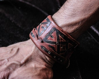 Leather Bracelet - Adjustable Size - Madmax - Steampunk - Industrial - Ethnic - Tribal - Boho - Traveller