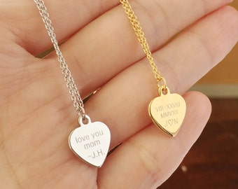 Custom Engraved Necklace: Engraved Heart Necklace, Roman Numeral Date Necklace, Necklace with Name, Meaningful Necklaces, Delicate Necklaces