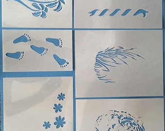 Stencil Set--Pkg/10 Thick Plastic (Varying Sizes) Plus Additional Assorted Masks (See Photos)