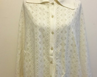 Women's Vintage 1950's-1960's White-Cream Button Up Cape/Sweater With Collar