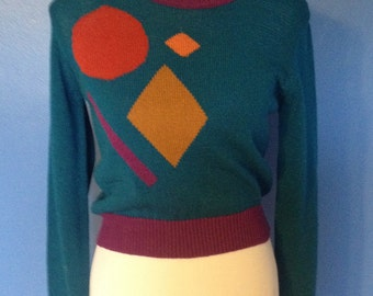 Small-Medium Women's vintage 1980's mod geometric teal blue pullover Fall- Winter sweater