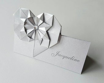 Handmade origami heart place card