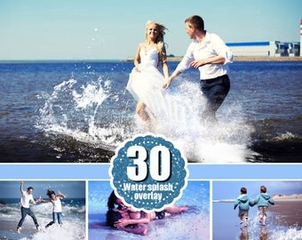 30 water splash photo Overlays, Photoshop Overlay, Photography Overlays, sea overlays, splatter overlay, png