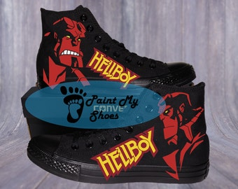 Hellboy, Converse, hand painted shoes, Hellboy Comic, free shipping in the US
