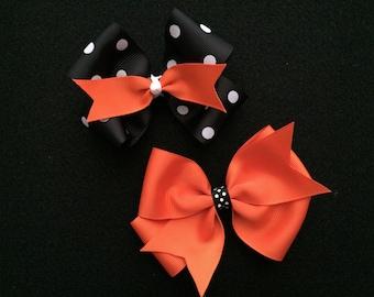Fall Halloween hair bow for baby girl teens