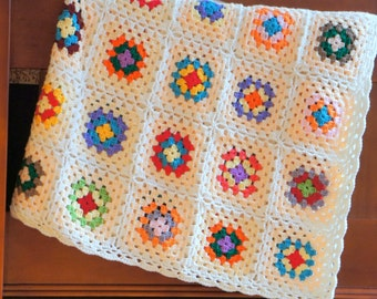 Throw blanket ,handmade blanket,Crochet blanket,Granny square Afghan ,crocheted bedspread